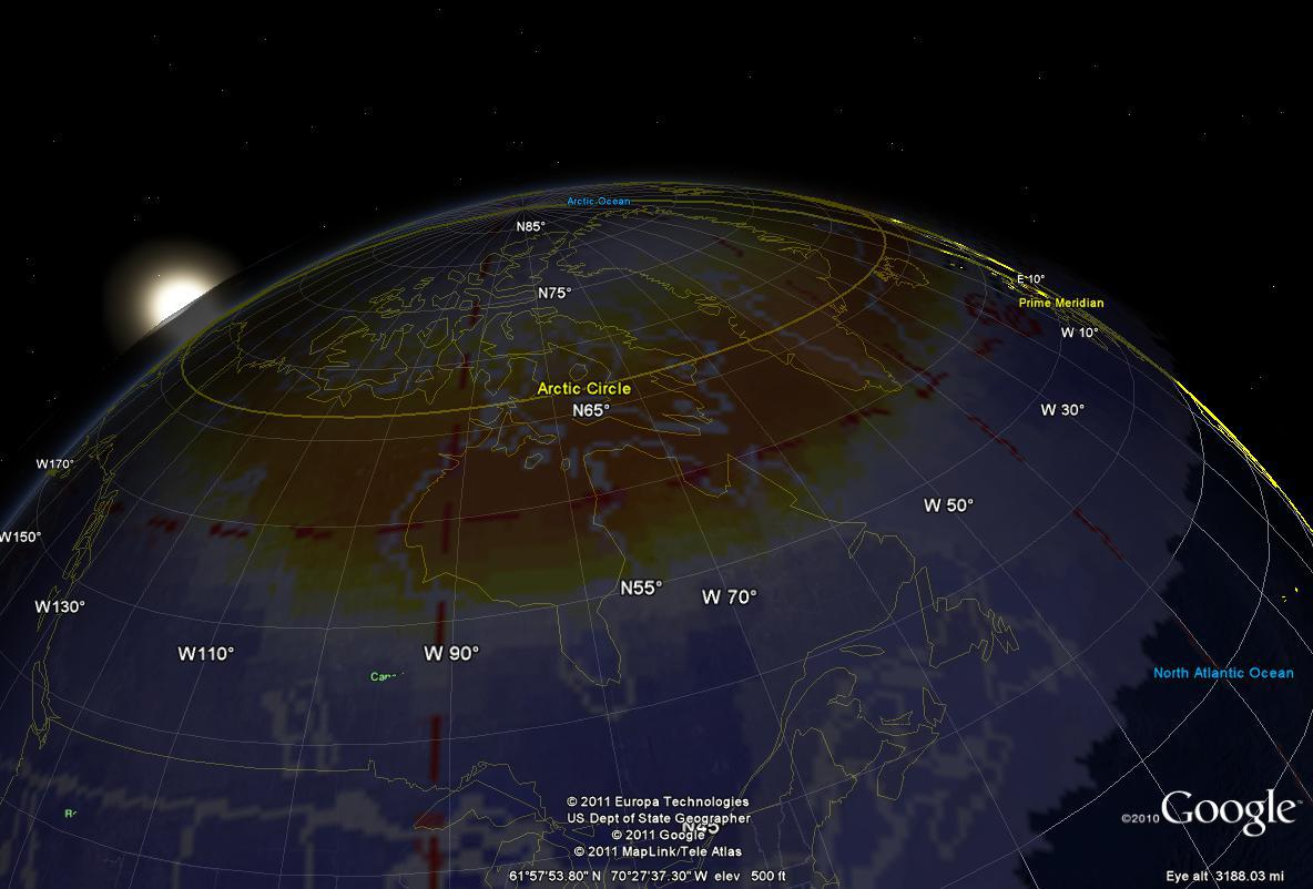 Aurora in Google Earth